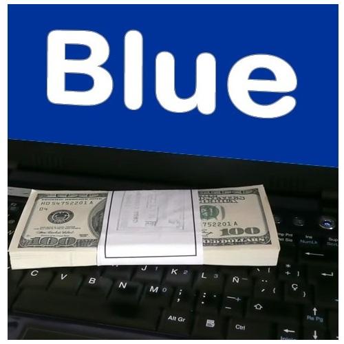 Dólar Blue sobre teclado